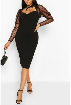 Plus Dobby Mesh Puff Sleeve Midi Dress , Black