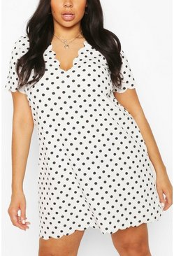 Plus Polka Dot Scallop V-neck Shift Dress, Ivory