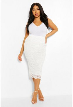 Plus Lace Midi Skirt, White