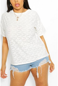 Ivory Plus Broderie Anglaise Oversized Dip Hem T-Shirt