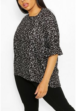 Plus Leopard Print Rib Ruffle Sleeve T-Shirt , Black
