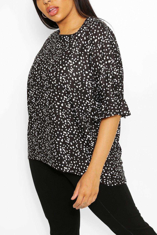 Plus Leopard Print Rib Ruffle Sleeve T-Shirt 15