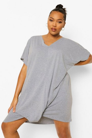 Grey marl Plus Oversized Knot Front Jersey T-Shirt