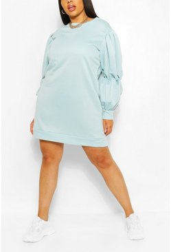 Duck egg blue Plus Recycled Loopback Sweat Dress