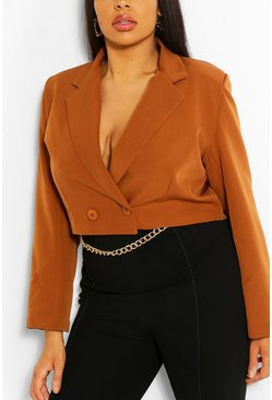 Rust Plus Woven Tailored Cropped Blazer