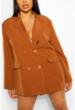 Rust Plus Woven Oversized Pocket Blazer Dress