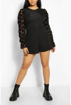 Plus Polka Dot Organza Mesh Playsuit , Black