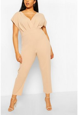 Plus Off The Shoulder Wrap Belted Jumpsuit, Stone