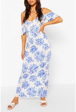 White Petite Floral Cold Shoulder Maxi Dress