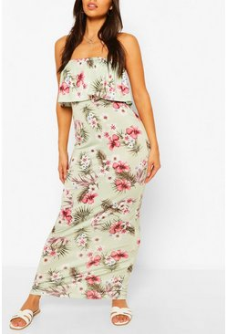 Sage Petite Palm Bandeau Maxi Dress