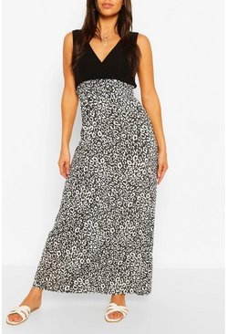Black Petite Leopard Print Contrast Skirt Maxi Dress