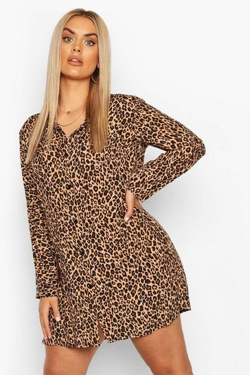 Brown Plus Leopard Print Shirt Dress