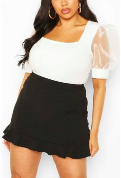 Black Plus Ruffle Hem Tailored Skort