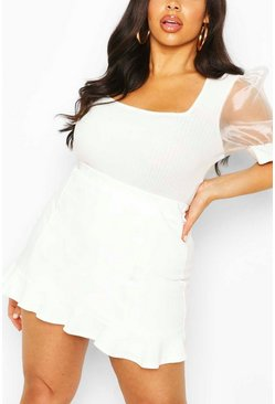 Ivory Plus Ruffle Hem Tailored Skort