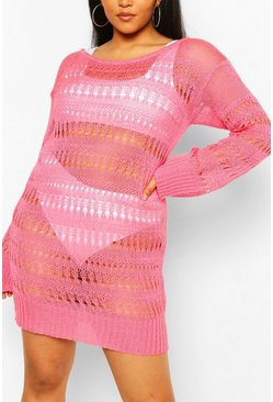 Coral Plus Knitted Pointelle Beach Dress