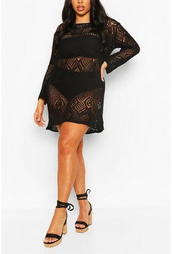 Black Plus Crochet Long Sleeve Beach Dress