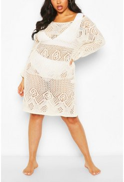 Ecru Plus Crochet Long Sleeve Beach Dress