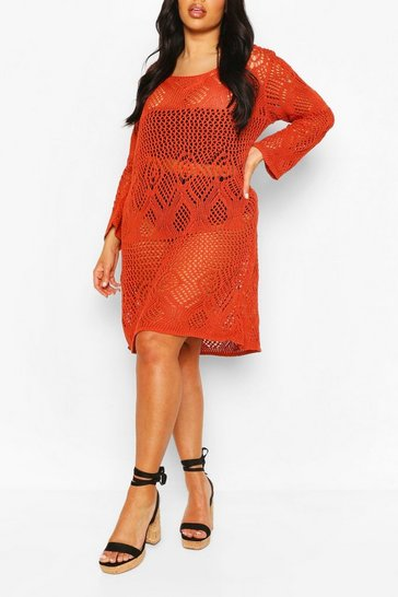 Rust Plus Crochet Long Sleeve Beach Dress