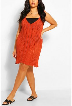 Rust Plus Crochet Mini Beach Dress