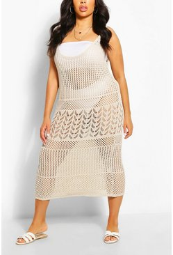 Stone Plus Crochet Knit Beach Midaxi Dress