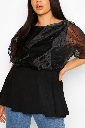 Black Plus Heart Organza Peplum Top