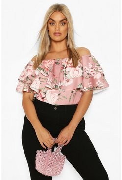 Rose Plus Floral Off The Shoulder Top