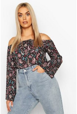 Plus Paisley Print Off The Shoulder Top , Black