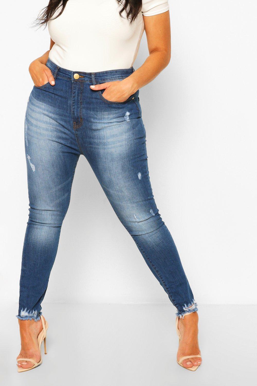 Plus Super Distressed Raw Hem Skinny Jeans 7