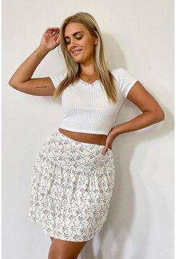 Ivory Plus Ditsy Floral Tierred Flippy Skater Skirt