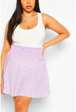 Lilac Plus Ditsy Floral Shirred Flippy Skater Skirt