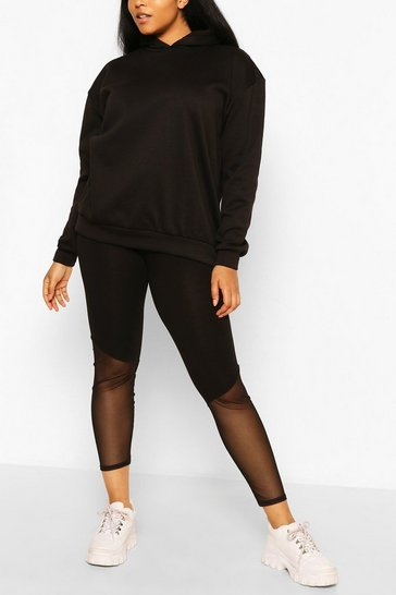 Black Plus Mesh Insert Contrast Leggings