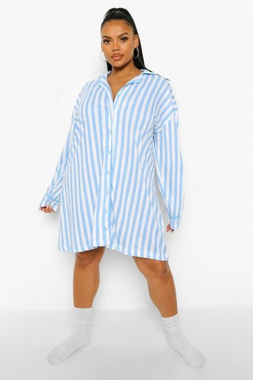 Blue Plus Candy Stripe Jersey Nightie