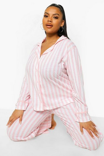 Pink Plus Candy Stripe Jersey Long Pj Set