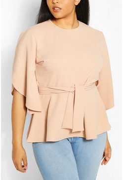 Stone Plus Split Sleeve Peplum Top