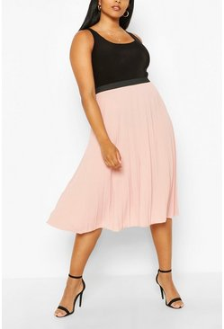 Blush Plus Pleated Chiffon Midi Skirt