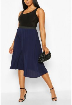 Navy Plus Pleated Chiffon Midi Skirt