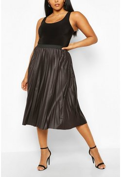 Black Plus Pleated PU Midi Skirt