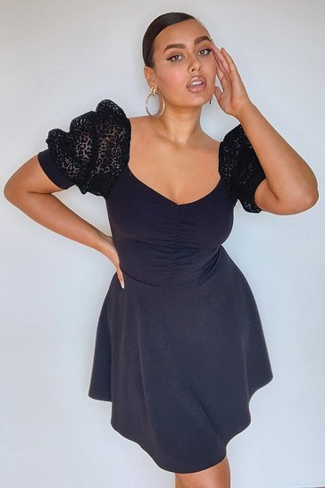 Black Plus Animal Organza Sleeve Skater Dress