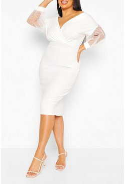 Ivory Plus Dobby Mesh Off Shoulder Midi Dress