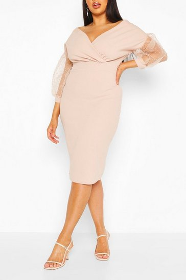 Stone Plus Dobby Mesh Off Shoulder Midi Dress