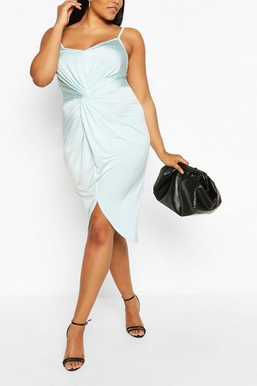 Sky Plus Strappy Twist Front Plunge Midi Dress