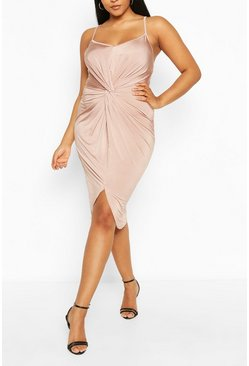 Stone Plus Strappy Twist Front Plunge Midi Dress