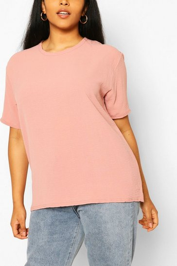 Blush Plus Linen Look Oversized T-Shirt