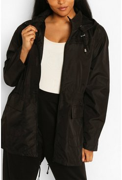 Black Plus Sized Hooded Mac