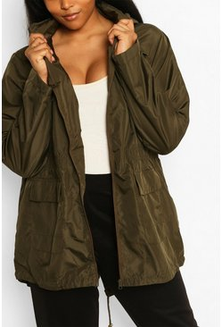 Khaki Plus Sized Hooded Mac