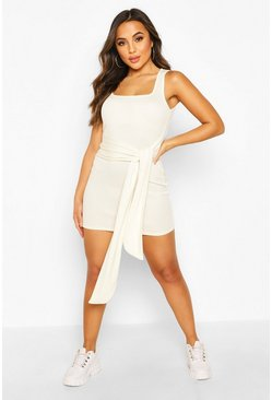 Ivory Petite Rib Square Neck Tie Front Bodycon Dress