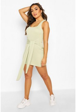 Petite Rib Square Neck Tie Front Bodycon Dress, Sage