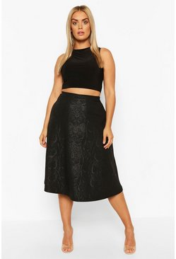 Black Plus Croc PU Skater Midi Skirt