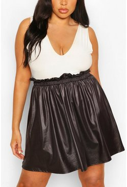 Black Plus Paperbag Waist PU Skater Skirt