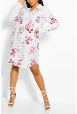 Pale blue Plus Floral Print Shirt Dress